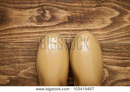 Plastic Waterproof Boots On A Wooden Floor