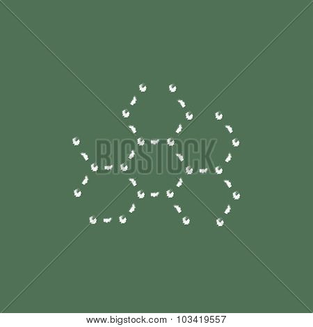 Molecule hand drawn in chalk on a blackboard vector white icon isolated on a green background.