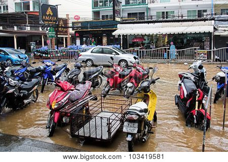 Phuket , Thailand - August 16, 2014: Flooding in the streets of Phuket after a tropical rainstorm.