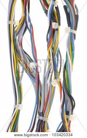 Bundles of network cables with cable ties