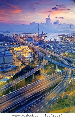 Hong Kong Stonecutters' Bridge at night