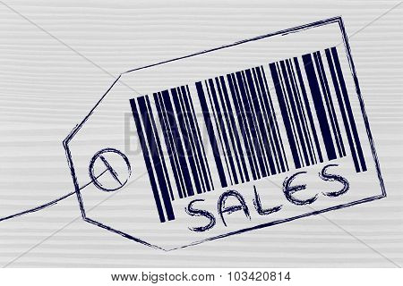 Sales Code Bar On Product Price Tag