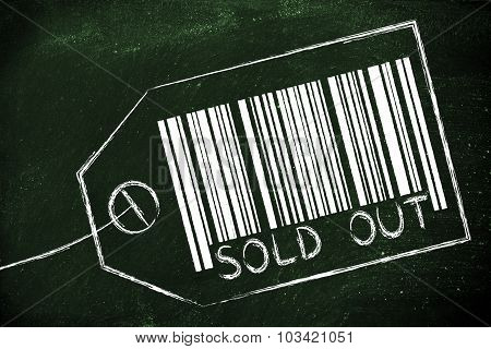 Sold Out Code Bar On Product Price Tag