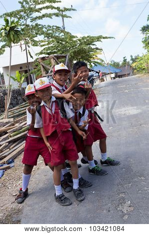 Balinese Hindu Boys In School Uniform