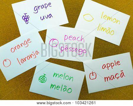 Language Flash Cards; Portuguese