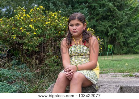 Sad Bullied Gypsy Child Girl In Dress Sitting Alone On Stairs In Garden Unhappy