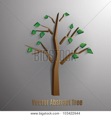 vector abstract tree with green foliages,eps 10.