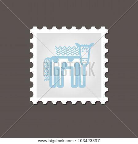 Horse stamp. Outline vector illustration