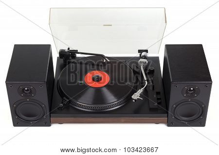 Analog Old Turntable With Loudspeakers