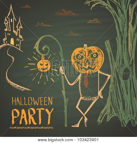 Colored chalk drawn illustration for Halloween party with old castle and pumpkin-man.