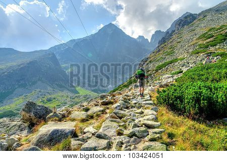 Hiker in the mountains.