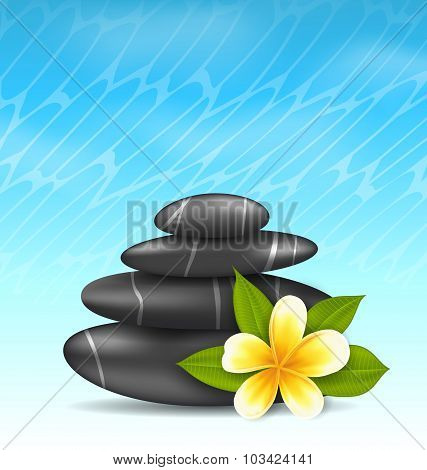 Natural background with frangipani flower plumeria and pyramid