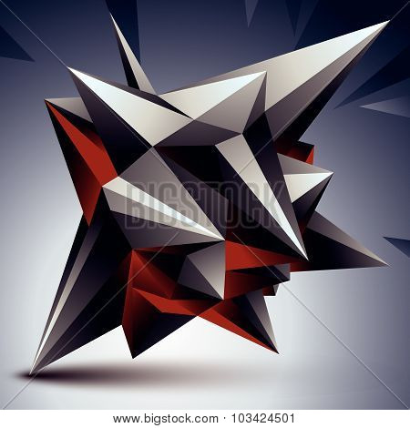 Geometric abstract 3D complicated object, single color asymmetric element isolated.
