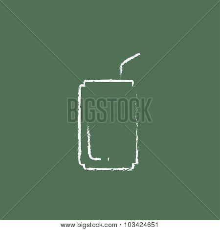 Soda can with drinking straw hand drawn in chalk on a blackboard vector white icon isolated on a green background.