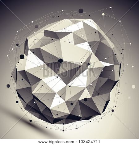 Vector asymmetric 3d abstraction, lattice geometric spherical template, perspective wireframe