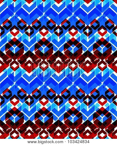 Colorful stylized symmetric endless pattern, transparent continuous geometric motif background