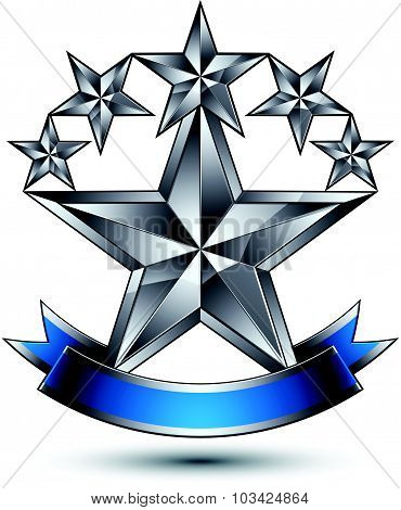 Vector silver star emblem with wavy ribbon, 3d sophisticated pentagonal design element