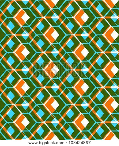Colorful stylized symmetric endless pattern, transparent continuous creative composition, geometric