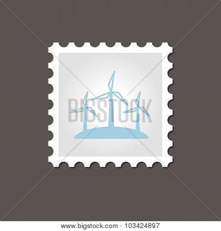 Windmill stamp. Outline vector illustration