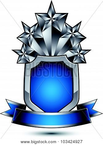Heraldic vector template with five pentagonal silver stars placed over security shield and decorated