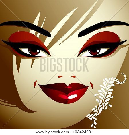 Cosmetology theme image. Young pretty lady with fashionable haircut. Human eyes, lips and eyebrows
