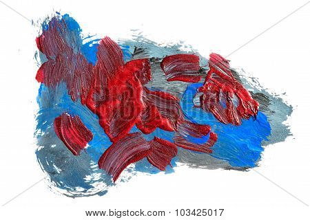 Acrylic Paints Background In Blue And Dark Red Tones. Abstract Shapes And Textures.