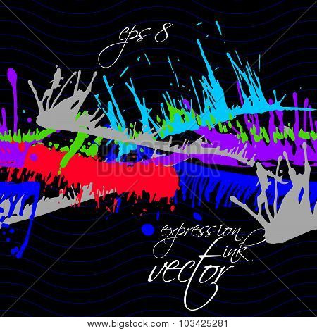 Bright contrast splattered web design repeat pattern, art ink blob, paintbrush drawing. Smudge color