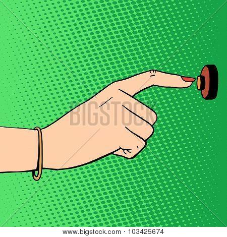 doorbell woman hand