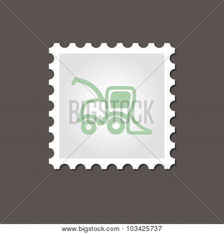 Combine harvester stamp. Outline vector
