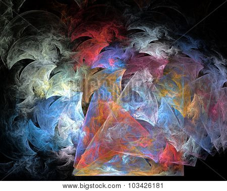 Abstract Fractal Design. Smoke Wings On Black.