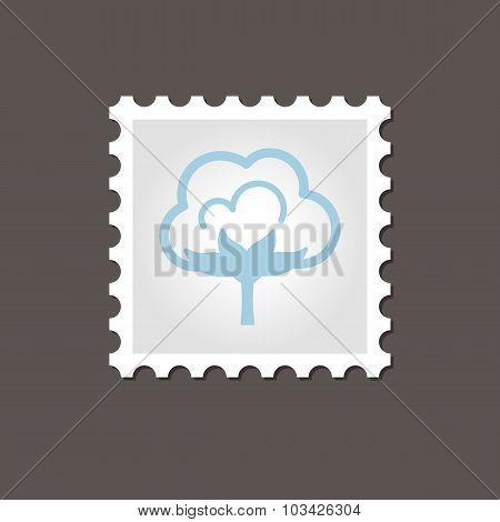 Cotton stamp. Outline vector illustration