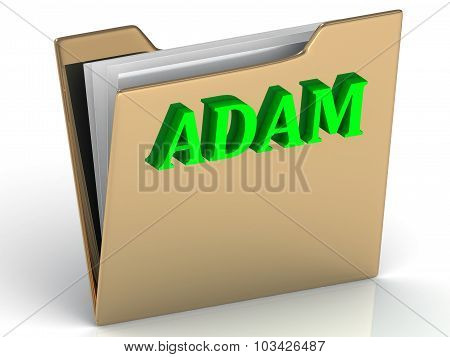 Adam- Name And Family Bright Letters On Gold