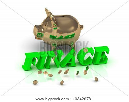 Finace- Inscription Of Green Letters And Gold Piggy