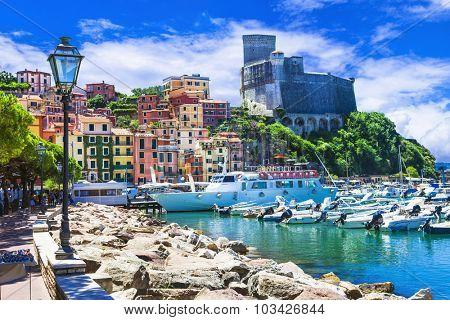 Vivid beautiful town Lerici in Liguria, Italy