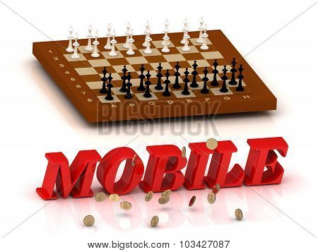Mobile- Inscription Of Color Letters And Chess On