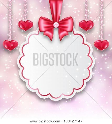 Shimmering background with celebration paper card and hanging he