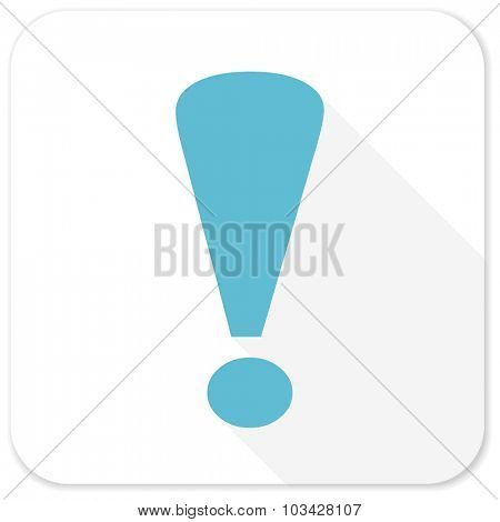 exclamation sign blue flat icon