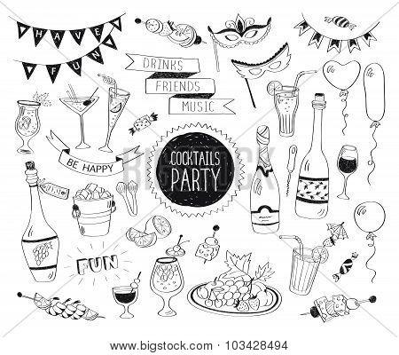 Cocktails doodle set
