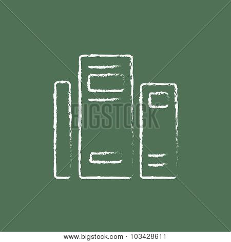 Books hand drawn in chalk on a blackboard vector white icon isolated on a green background.