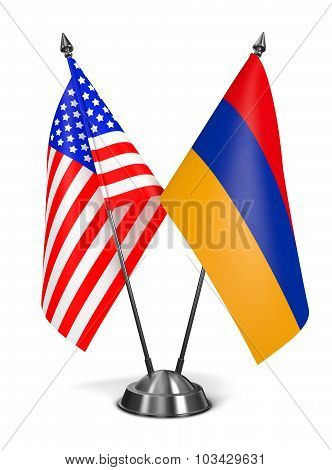 USA and Armenia - Miniature Flags.