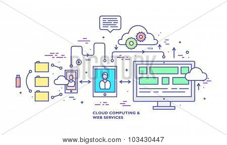 Data Analysis and Cloud Computing Thin Line Flat Style Vector Icons Set. Web Technologies, Data Management and Office Elements Collection. Time Management.
