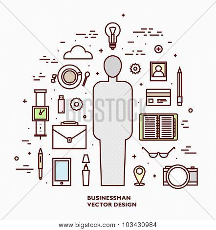 Set of Office Tools. Flat Style Thin Line Vector Icons Collection.