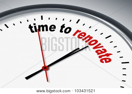 An illustration of a clock with the words time to renew