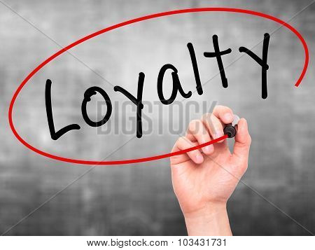 Man Hand writing Loyalty with marker on transparent wipe board
