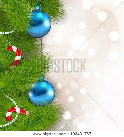 Christmas composition with fir branches, glass balls
