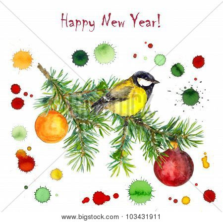 Christmas card with watercolor drops, bird on spruce snow tree