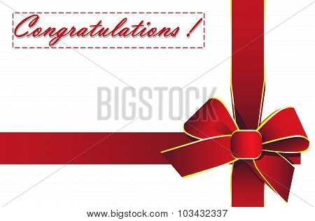 Red Ribbon With The Words Congratulations!