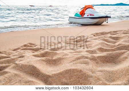 The beach with motor extreme sport