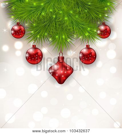 Christmas composition with fir twigs and red glass balls