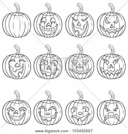 Halloween Set Of Twelve Pumpkin Outlines